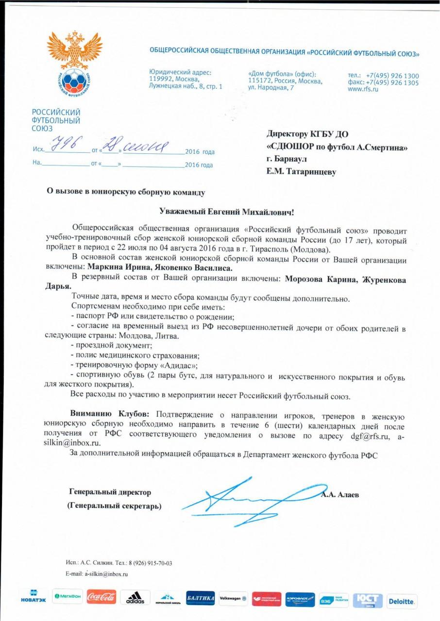 Приглашение в сборную россии